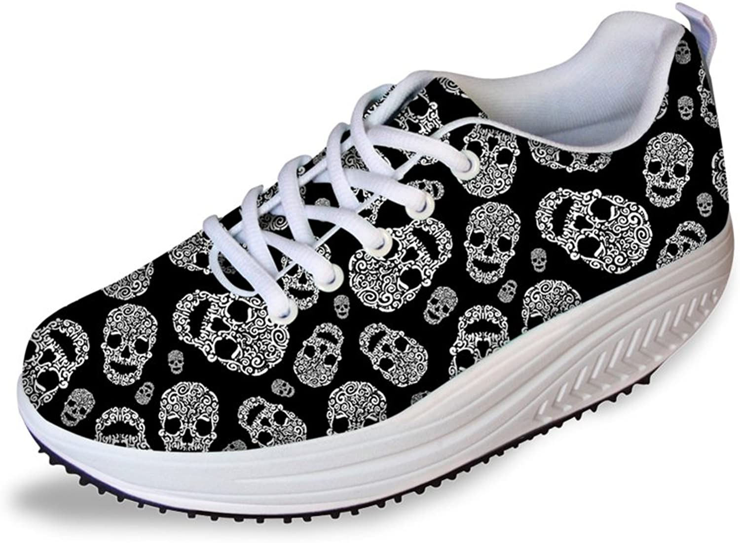 FOR U DESIGNS Fashion Skull Printing Fitness Walking Sneaker Casual Women's Wedges Platform shoes