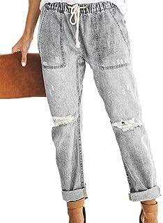 Women Casual Loose Cuffed Elastic Drawstring Knee Hole Straight Leg Jeans