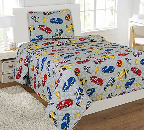 Goldenlinens Twin Size 2 Pieces Printed Kids Bedspread/Coverlet Sets/Quilt Set (Twin, Race CAR)