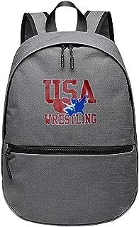 Unisex USA Wrestling Logo Laptop Backpack School Rucksack Bag Computer Bag Boys GirlsTravel Outdoor Gray
