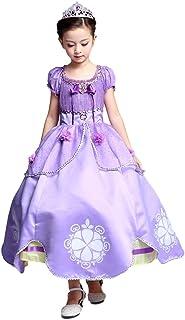 (eones)プリンセスドレス ソフィア風 ロングドレス 4層構造 なりきり 子供 お姫様 キッズドレス 2点セット(150)