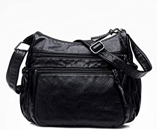 Simple hand bag, pu shoulder bag, ladies messenger bag, soft washed soft leather fabric, large-capacity out-of-street item, multi-layer design, black (Color : Black, Size : One size)