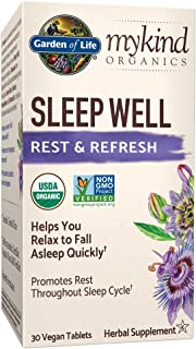 Garden of Life mykind Organics Sleep Well Rest & Refresh 30 Tablets, Lemon Balm, Green Tea Extract L-Theanine, Valerian Ro...
