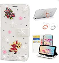 STENES Bling Wallet Case Compatible with Google Pixel 2 XL - Stylish - 3D Handmade Santa Claus Bell Floral Design Leather Cover with Ring Stand Holder [2 Pack] - White