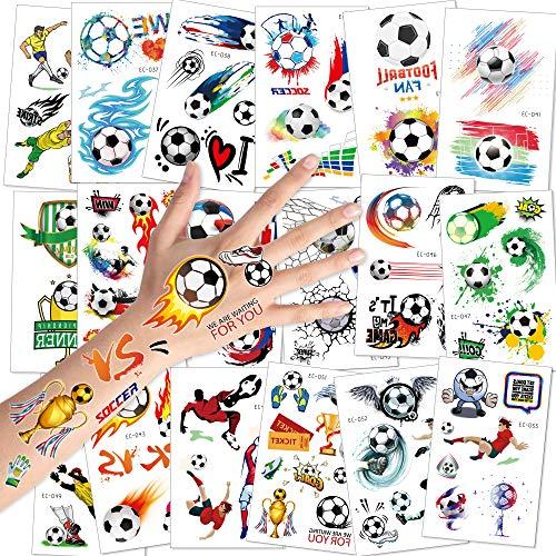 Konsait Calcio Bambini Tatuaggi Temporanei, Tatuaggi Finti Adesivi Giocattoli Gadget per Bambini Ragazzi Festa Compleanno Regalo Impermeabile Tatuaggio Temporaneo, 18 Fogli