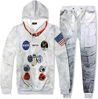 Pandodut, Casual Hombres chándal de 2 Pedazos Traje 3D Espacio de impresión Astronauta Divertido Sudaderas con Capucha y Pantalones