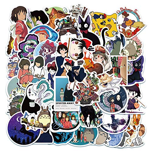 LVLUO Miyazaki Hayao Anime Pegatina hogar Pared Maleta Graffiti Pegatina portátil Pegatina Juguetes para niños 50 Uds