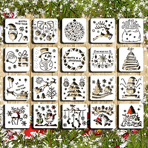 Christmas Stencil Set Template DIY Decor Stencils Craft Scrapbooking Plastic Drawing Cards 20 PCS Use on Cookies Wall Glass Fabrics Wood Cards Posters Holiday Xmas Tree Bell Snowflake Elk