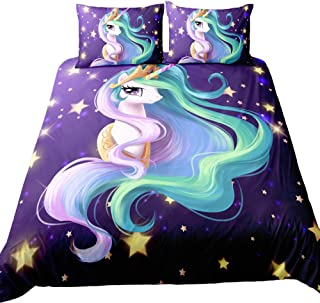 Suncloris,Rainbow Unicorn Fairytale with Mandala Paisley Background,Kids' Gift Home Bedding Set.Included:1Duvet Cover,2Pillowcase(no Comforter Inside) (Full)