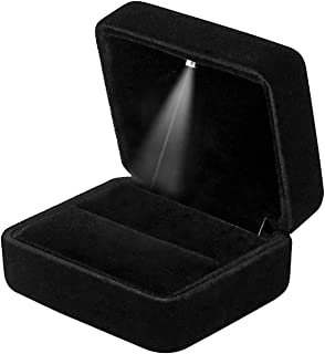 GBYAN Velvet Ring Box with LED Light Jewelry Display Gift Box for Proposal,Engagement, Wedding