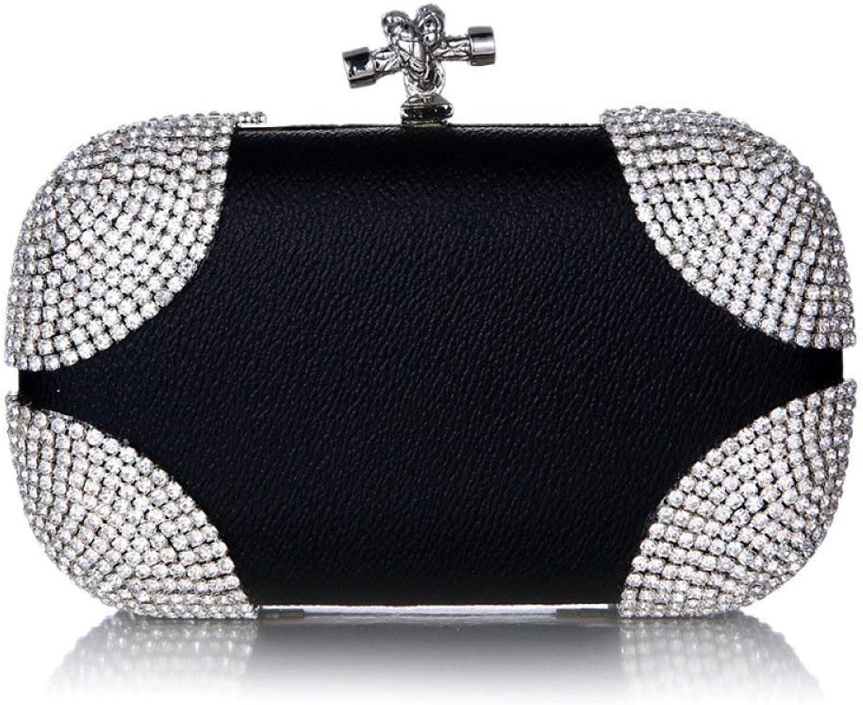 Portemonnaie Umhängetasche Damen Abendtasche Europa Mode Leder Leder Leder Strass Clutch Umhängetasche (Farbe   schwarz, Größe   Einheitsgröße) B07PJHLFKX  Auktion f35b49