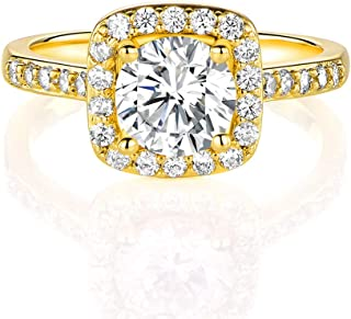 BWEUS 14K Yellow Gold Plated Ring Cubic Zirconia Promise Halo Engagement Eternity Ring for Women
