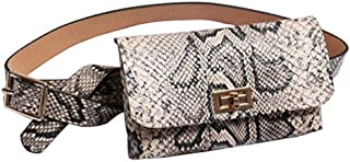 RARITYUS Women Snakeskin Waist Pack Belt Bum Bag Leather Fanny Pack Vintage Phone Bag Elegant for Women Girls, Beige (Beige) - RAbb-191605175B-02