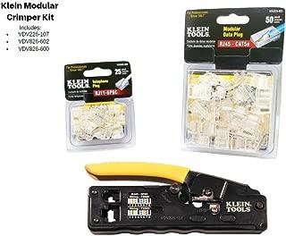 Klein Modular Crimper Kit: Contains VDV226-107 Ratcheting Crimper, VDV826-600 RJ11 Plug 25pk and VDV826-602 RJ45 Plug 50pk