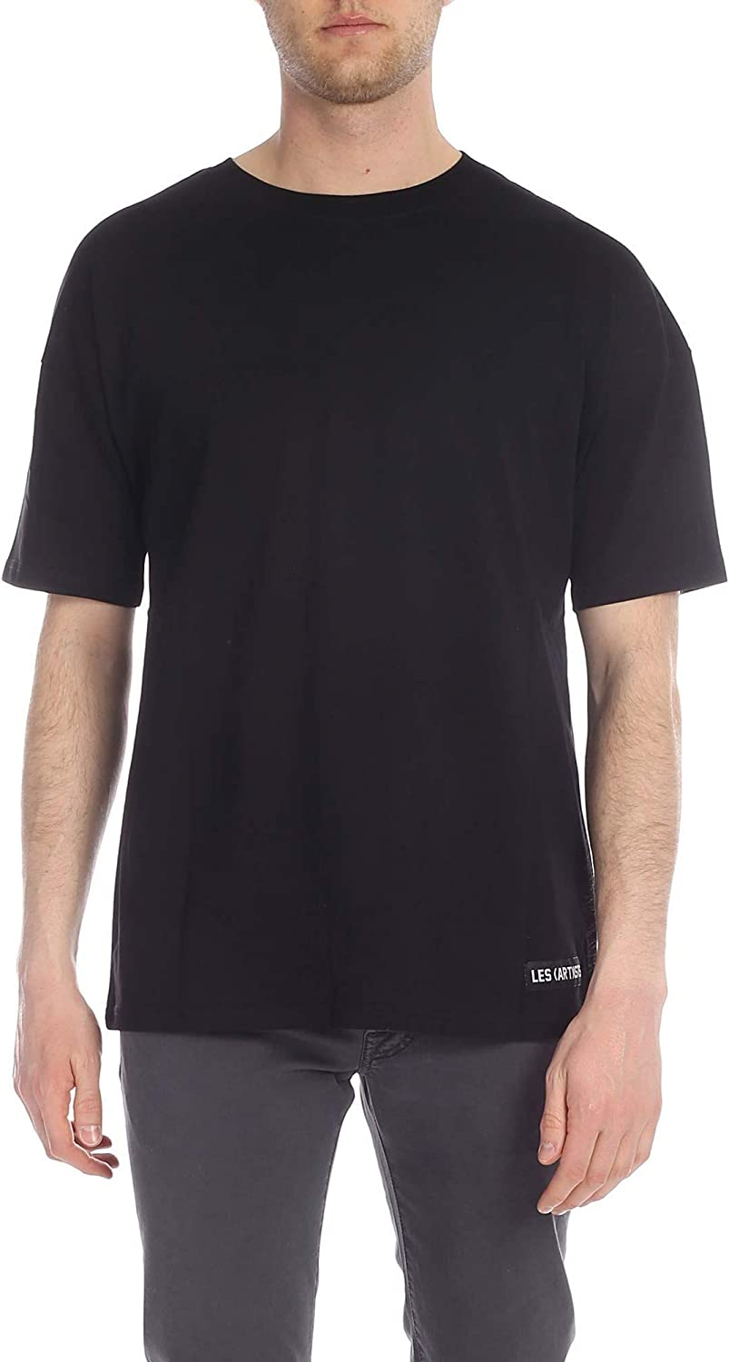 LES (ART)ISTS Men's LA08TEE167BLACK Black Cotton TShirt
