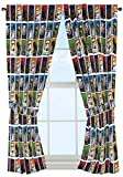 "Star Wars Classic 63"" Drapery /Curtain 4pc Set (2 Panels, 2 Tie backs) - R2D2, C3PO, Chewbacca, Darth Vader, Stormtrooper - Official Star Wars Product"