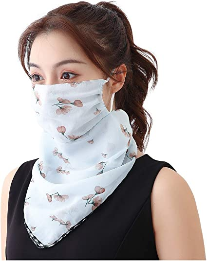 DETALLAN Adult Ladies Washable Face Bandanas Sun Protection Flash Diamond Printed Ice Silk