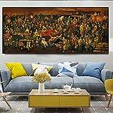 Geiqianjiumai Divina Comedia y los Famosos murales de Dante, Figuras históricas Antiguas y Modernas, Carteles y murales Impresos en Lienzo para la decoración del hogar, Pinturas sin Marco, 60X140CM