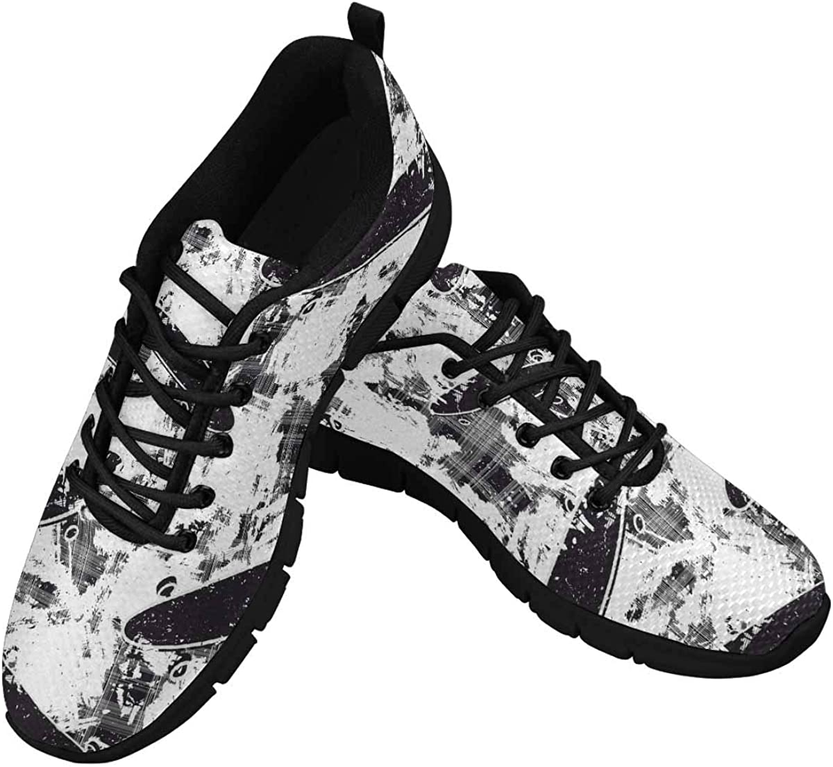 InterestPrint Skateboards Background Women's Athletic Walking Running Sneakers Comfortable Lightweight Shoes