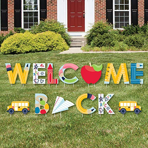Big Dot of Happiness Back to School - Yard Sign Outdoor Lawn Decorations - First Day of School Classroom Yard Signs - Welcome Back