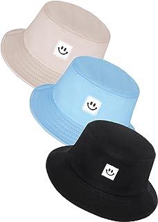 3 Pieces Kids Smile Face Bucket Hats, Summer Travel Bucket Sun Beach Hats Outdoor Visor Cap for Boys Girls
