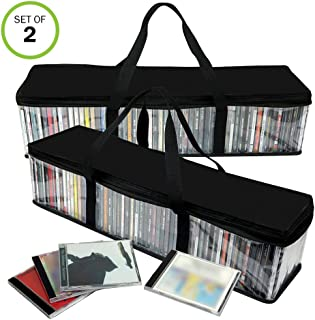 Evelots CD Storage Bag-Zippered-Clear-Handles-Hold 100 CDs Total-Black Top-Set/2