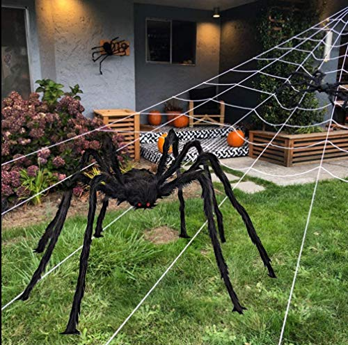 Venhoo Halloween Giant Spider Outdoor Decorations 59 inch Black Scary Hairy Realistic Large Spiders Props for Outside Indoor Office House Yard Creepy Decor-Black