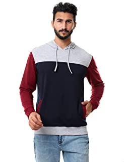 Off Cliff Color Block Side Pockets Ribbed Trims Drawstring Hoodie for Men