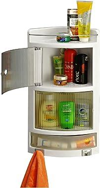GRAZIA Multi Purpose Wall Mount Bathroom Corner Crystal Cabinet (White)