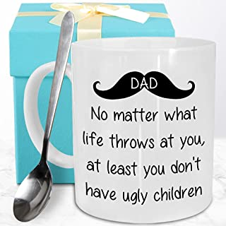 Funeon Funny Coffee Mug Father Gifts for Dad Men Fathers Day Birthday Christmas Fun Best Dad Gifts from Daughter Son Kid W...