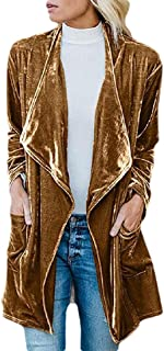 Women's Open Front Velvet Cardigan Jacket Long Sleeve Trench Coat Top