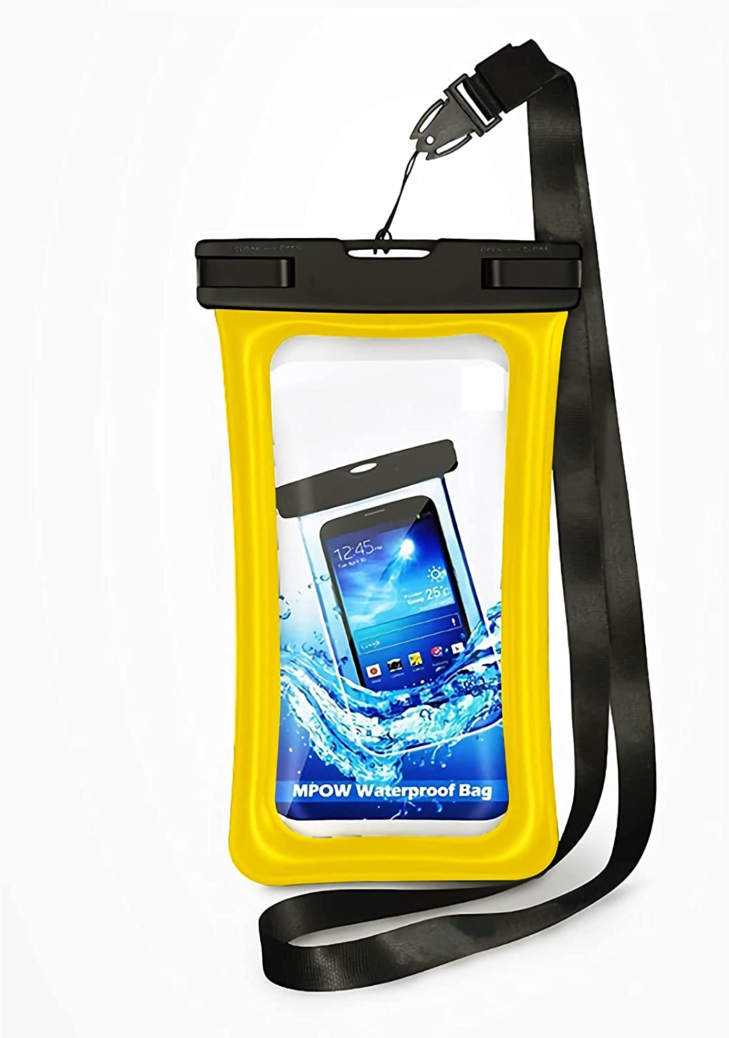 """Water Proof Bag Packs Neck Pouch Cell Phone Bag Waterproof for Phone Pouch Floating Universal Waterproof Pouch Cellphone Dry Bag Case All Phones Up to 6.5"""" (Yellow, L)"""