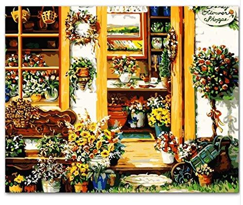 Flower House Landscape Diy Pintura Al Óleo Digital Por Números Europa Abstracto Pintura De La Lona Para La Sala De Arte De La Pared Con Marco 40x50cm