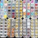 Almmy.6 ネイルパーツ 大容量タイプ ネイルアート シェル 金属パーツ ワイヤー 箔 オーロラフィルム さざれ石 宇宙 夏 オーロラフィルム 金属粒(タイプC(10種類))