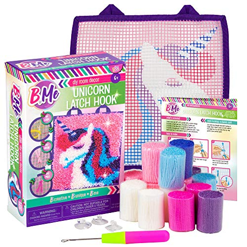 B Me DIY Unicorn Latch Hook Kit for Girls – Mini Rug Sewing Set with 15...