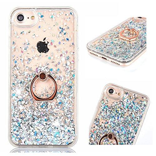 Flüssig Hülle für iPhone 6 / iPhone 6S, ZCRO Handyhülle Case Schutz Hülle Glitzer Flüssig Cover Transparent Silikon Rahmen Hüllen mit Handy Ring Halterung Ständer für iPhone 6/iPhone 6S(Weiß Silber)