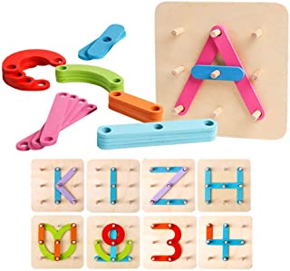 Kizh Wooden Letter and Number Construction Activity Set Educational Preschool Toys Shape Color Recognition Pegboard Sorter...