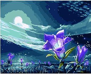 Pintura por números DIY Violeta bajo la luz de la luna Flor Lienzo Decoración de la boda Imagen del arte Regalo-40x50cm
