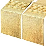 Sparkly Sequin Table Runner 2 Pieces 12x72 Inch Rectangle Gold Sequin Table Runner Wedding Cake Table Decoration Table Lines