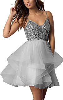 Women's Spaghetti Beaded Short Tulle Mini Prom Cocktail Dressarty Gown