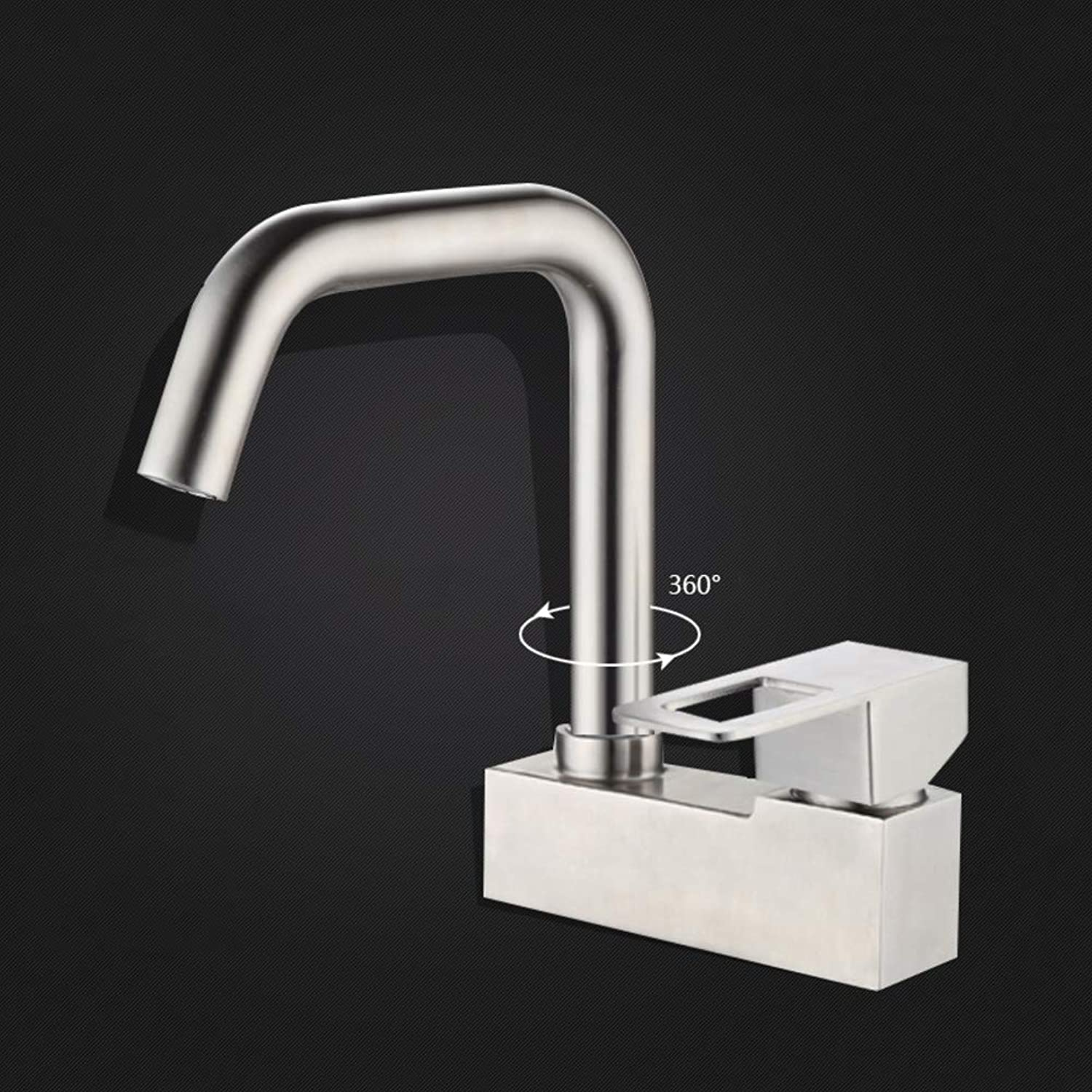 redating Sink Faucet, Single Kitchen Faucet 304 Full Copper Double Hole Basin Mixer Universal Hot and Cold Water tap Lavatory Faucet-Q