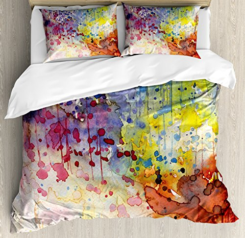 Ambesonne Abstract Duvet Cover Set, Grunge Style Dirty Look with Colorful Watercolor Spots Liquid Splashes, Decorative 3 Piece Bedding Set with 2 Pillow Shams, King Size, Orange Red