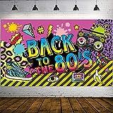 Decoraciones de Fiesta de Años 1980, Tela Extra Grande Cartel de Hip Hop de BACK TO the 80's Fondo de Foto Pancarta Kit de Decorar Pared para Fiesta de Años 1980, 72,8 x 43,3 Pulgadas