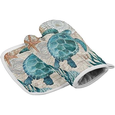 Green Sea Turtle Dish Towels Oven Mitt Pot Holder Set of 4 Beach Summer House