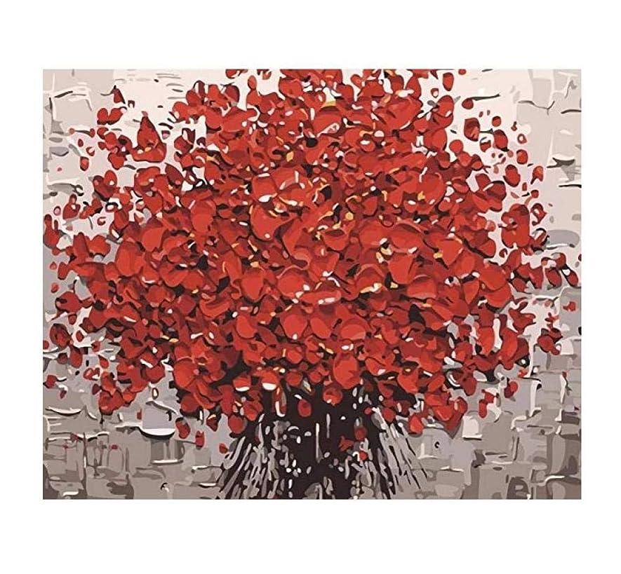 本体タンザニア固執Paint Romantic Flower with Digital Set with Brush and Acrylic Paint DIY Canvas for Adult Beginners,40x50CM