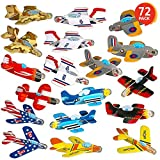 ArtCreativity Foam Gliders for Kids - Bulk Set of 72 - Lightweight Planes with Various Designs - Individually Packed Flying Airplanes - Fun Birthday Party Favors, Goodie Bag Fillers, Boys and Girls