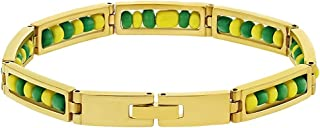 In Season Jewelry Stainless Steel Orula Bracelet Green Yellow Beads Babalawo Amulet Protection