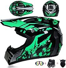 Casque Cross Adulte Casque VTT Integral Enduro Moto Velo Quad ATV Downhill Scooter avec Gant Masque Filet /à Bagages Noir et Rouge// 4 Pcs Casque Motocross avec Visiere