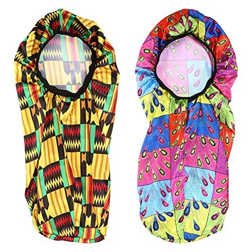 Fiable 2pcs Satin Sleep Casque Compatible avec des cheveux longs Capuchon large bande Satin Bonnet Casquette de nuit avec bande élastique souple compatible avec les femmes Pratique ( Color : Style 2 )
