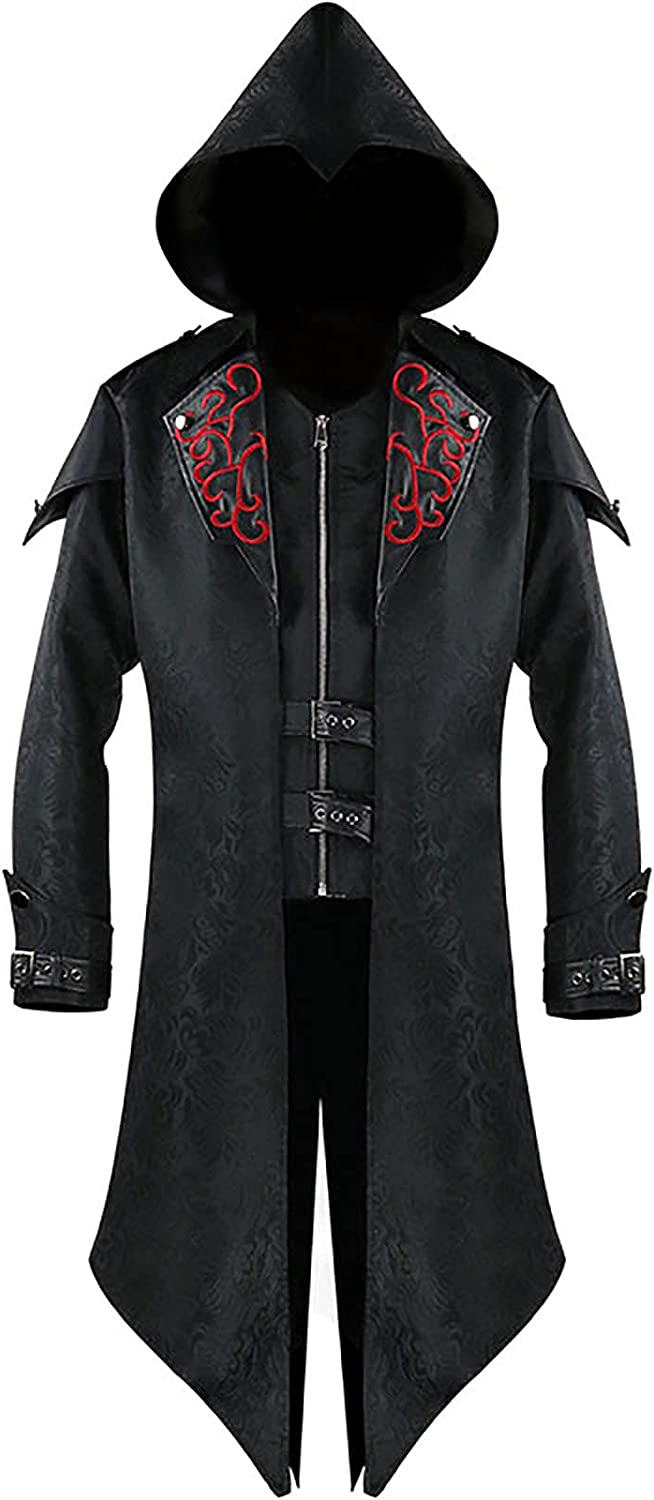 Men Steampunk Jacket Medieval New products world's highest quality popular Long Free shipping anywhere in the nation Hoodie Gothic Victorian Costu